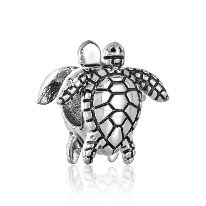 Silver sea turtle bead for use with DBW interchangeable bracelets