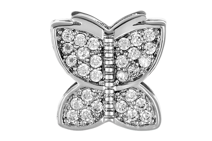 Silver butterfly bead for use with DBW interchangeable bracelets.