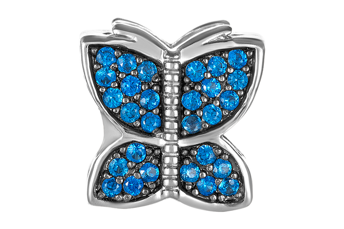 Silver butterfly bead with blue and clear CZ stones