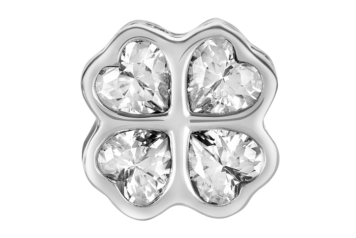 Silver clover charm with clear CZ stones for use with DBW interchangeable bracelets.