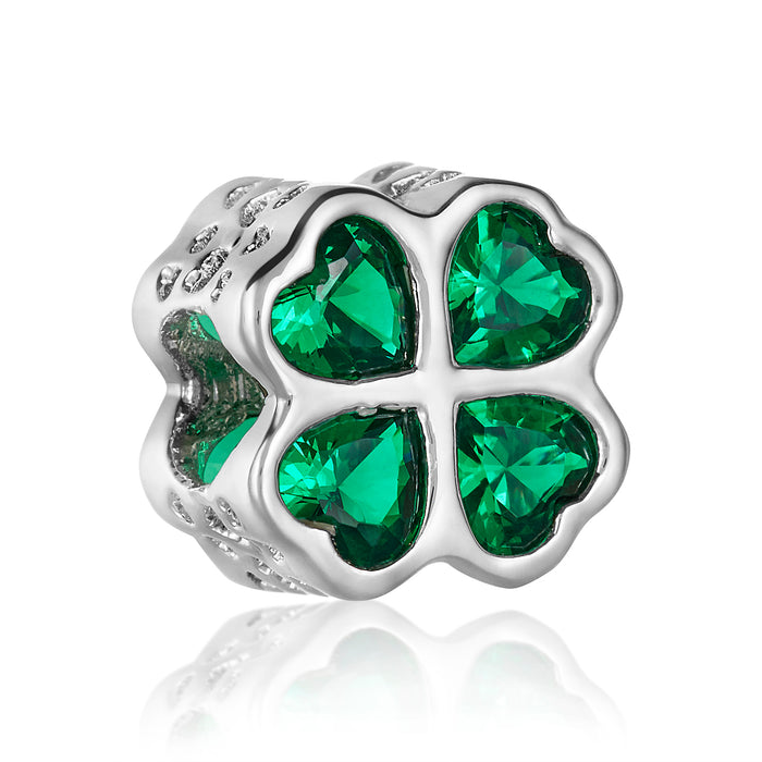 Silver clover bead with green CZ stone