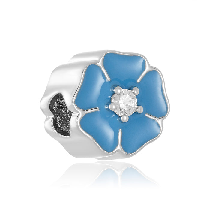 Blue flower shaped bead for DBW interchangeable jewelry line.