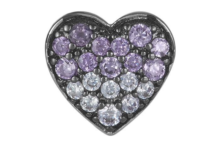 Silver heart shape bead with clear & purple CZ stones