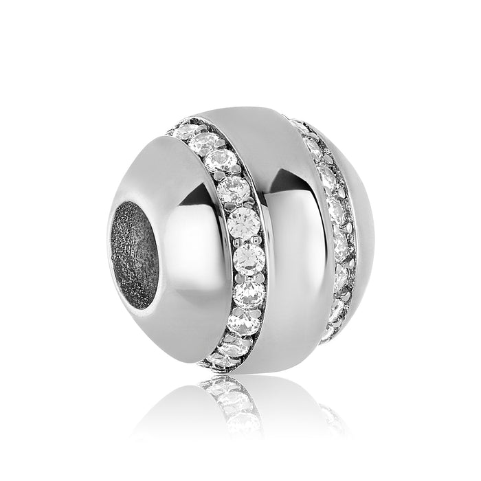 Silver charm with two rows of clear CZ stones for use with DBW interchangeable bracelets.