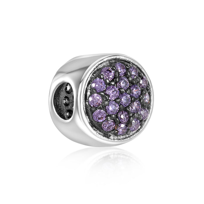 Amethyst CZ stone bead for use with DBW interchangeable bracelets.