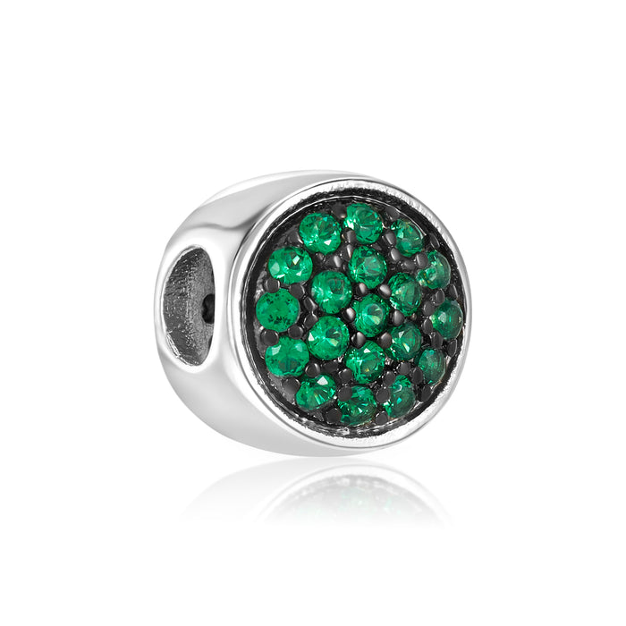 Green CZ stones on DBW bead