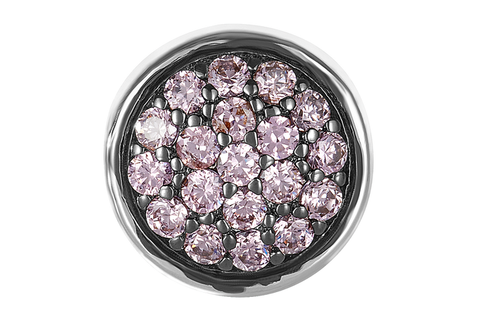 Pink CZ stones on silver DBW bead