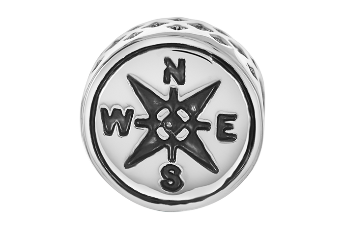 Silver compass bead for use with DBW interchangeable bracelets