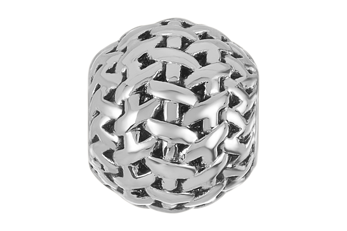 Silver woven bead for use with DBW interchangeable bracelets