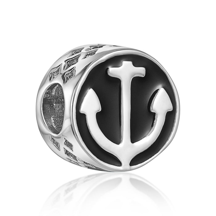 Black and silver anchor bead for use with DBW interchangeable bracelets.