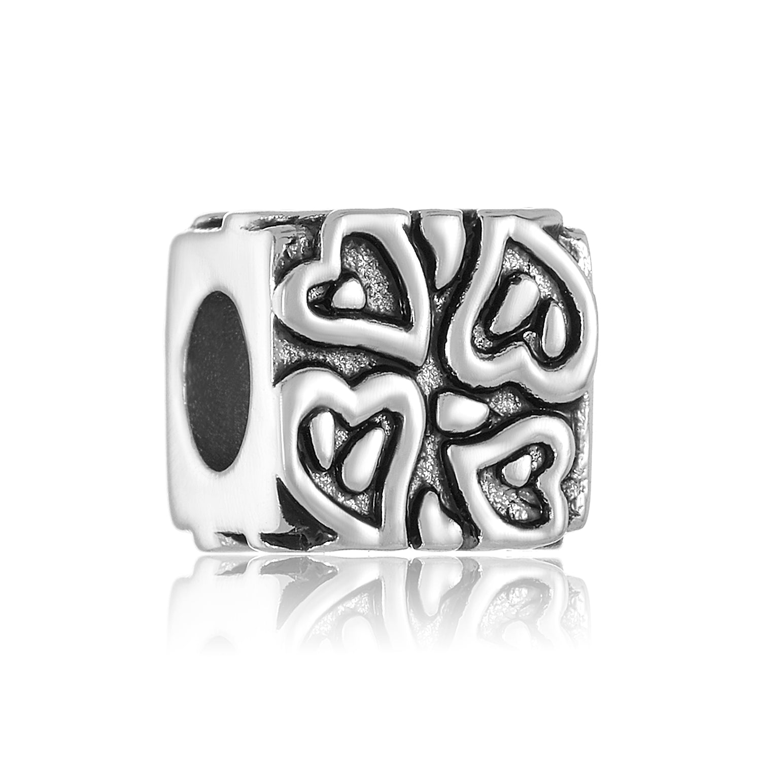 Silver square shaped bead with heart design