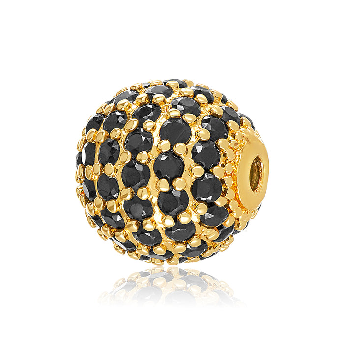 Black CZ studded gold bangle ball for use with DBW interchangeable bangle bracelets.  Bangle balls sold in pairs.