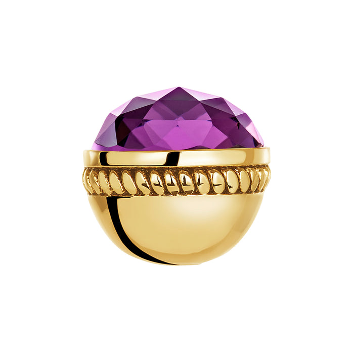 Golden Faceted Amethyst Glass Bangle Ball Pair