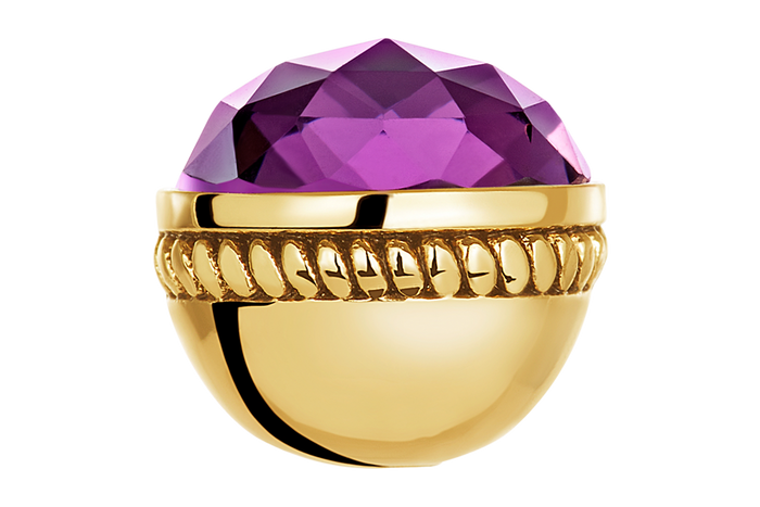 Gold faceted amethyst glass bangle ball for use on DBW interchangeable bangle bracelets.  Bangle balls sold as pair.
