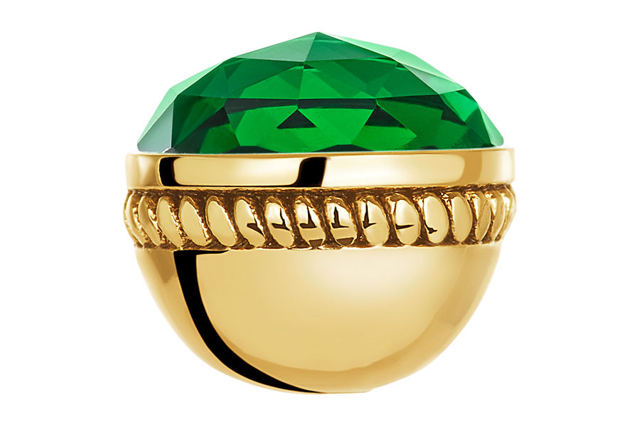 Gold faceted emerald glass bangle ball for use on DBW interchangeable bangle bracelets.  Bangle balls sold as pair.