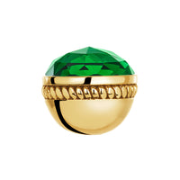 Golden Faceted Emerald Glass Bangle Ball Pair
