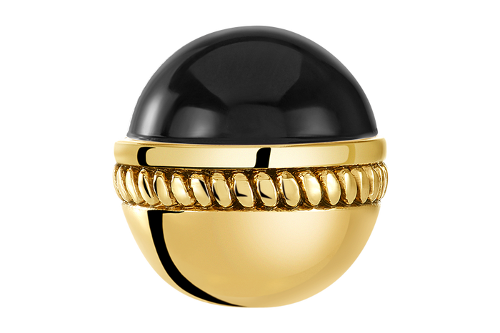 Golden Caboshon Jet Bangle Ball Pair
