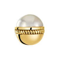 Golden Caboshon Glass Pearl Bangle Ball Pair