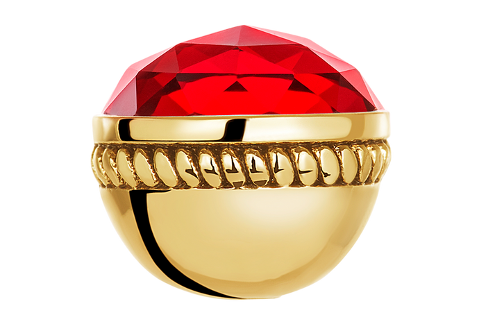 Gold faceted ruby glass bangle ball for use on DBW interchangeable bangle bracelets.  Bangle balls sold as pair.