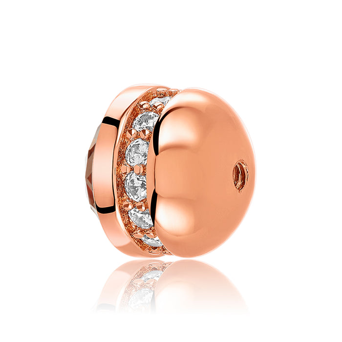 Rose gold bangle ball with row of clear CZ stones for use with DBW interchangeable bangle bracelets.  Bangle balls sold as pair.