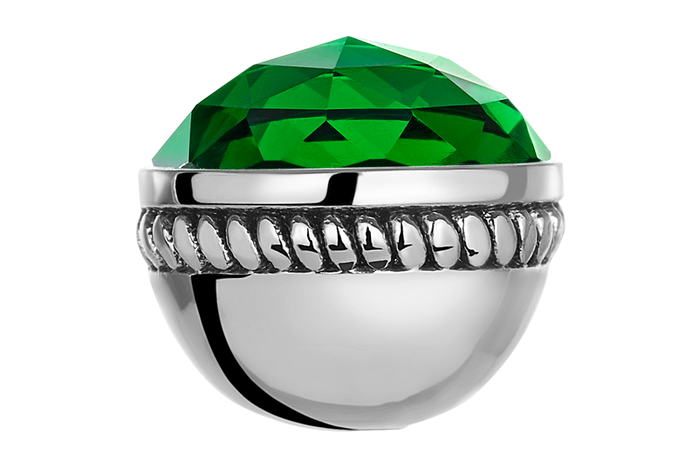 Faceted emerald glass bangle ball for use on DBW interchangeable bangle bracelets.  Bangle balls sold as pair.
