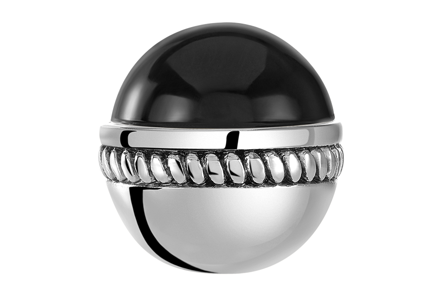 Silver bangle ball with black CZ stone for use with DBW interchangeable bangle bracelets.  Bangle balls are sold as pairs.