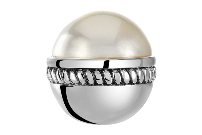 White pearl caboshon stone bangle ball for use on DBW interchangeable bangle bracelets.  Bangle balls sold as pairs.
