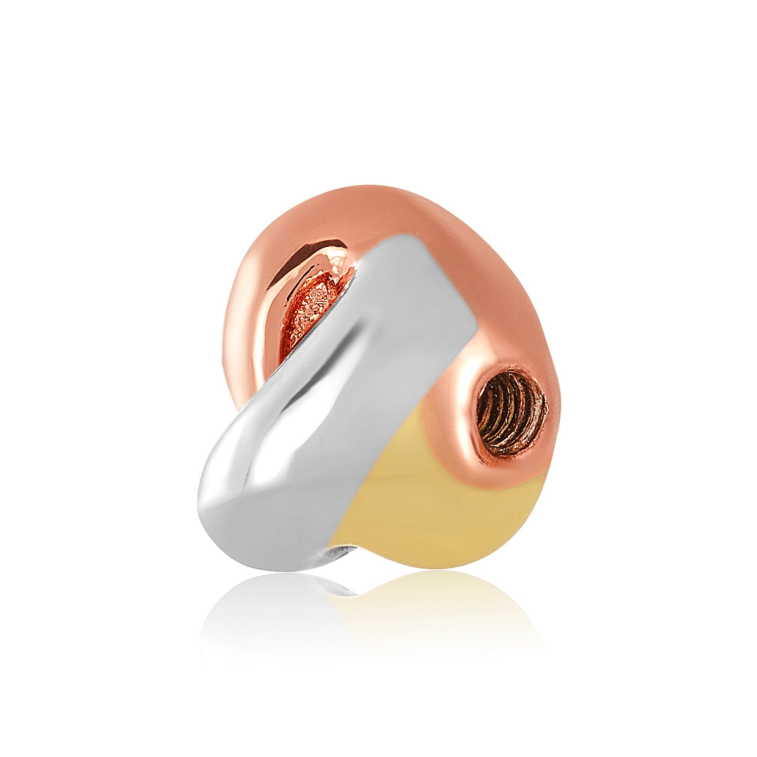 Gold, Rose Gold & Silver (three-toned) love knot bangle ball to be used on DBW interchangeable bangle bracelets.