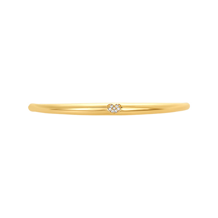 Golden Pave Heart Fashion Bracelet Bar, Small