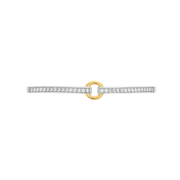 Two-Tone Open Circle Fashion Bracelet Bar, Small