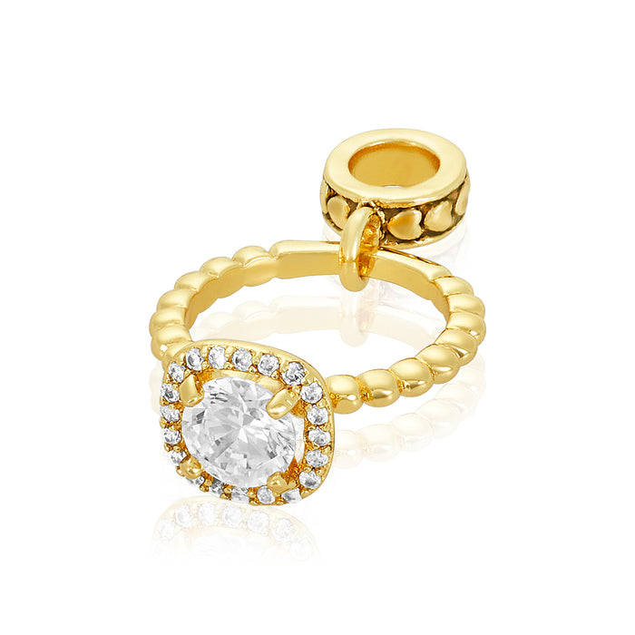 Gold engagement ring charm for use with DBW interchangeable charm bracelets.