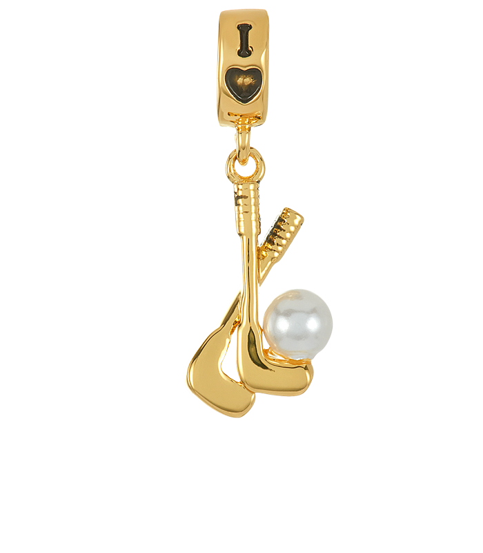Gold golf clubs with white pearl color stone charm for use with DBW interchangeable charm bracelets.