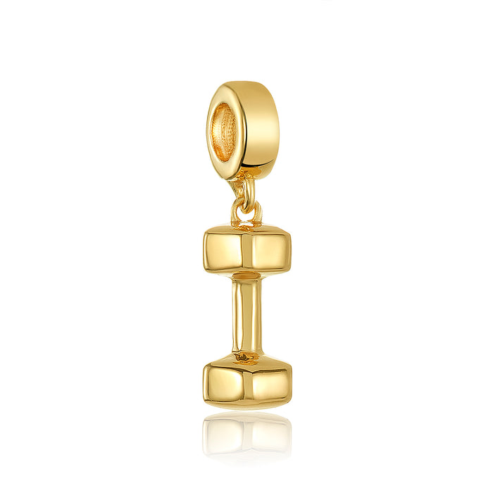 Gold dumbbell charm for use with DBW interchangeable charm bracelets.