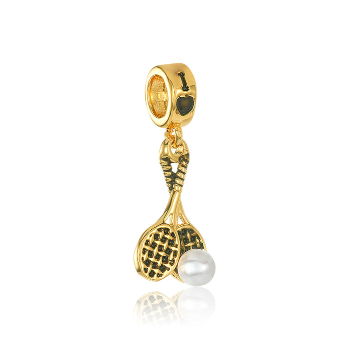 Gold tennis racket with white pearl stone for DBW interchangeable charm bracelets.