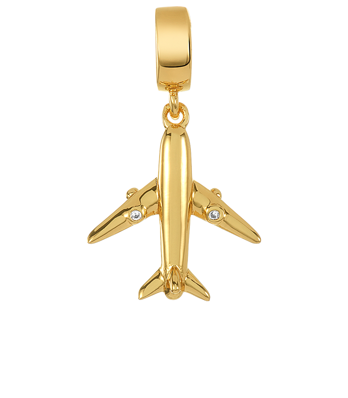 Gold airplane charm for use with DBW interchangeable charm bracelets.