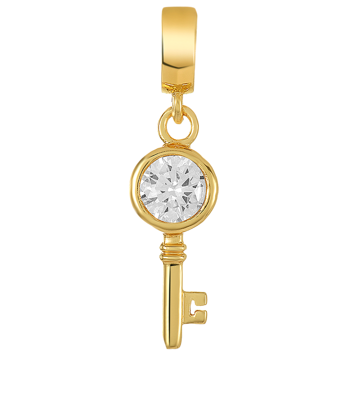 Gold key charm with large CZ stone for use with DBW interchangeable charm bracelets.