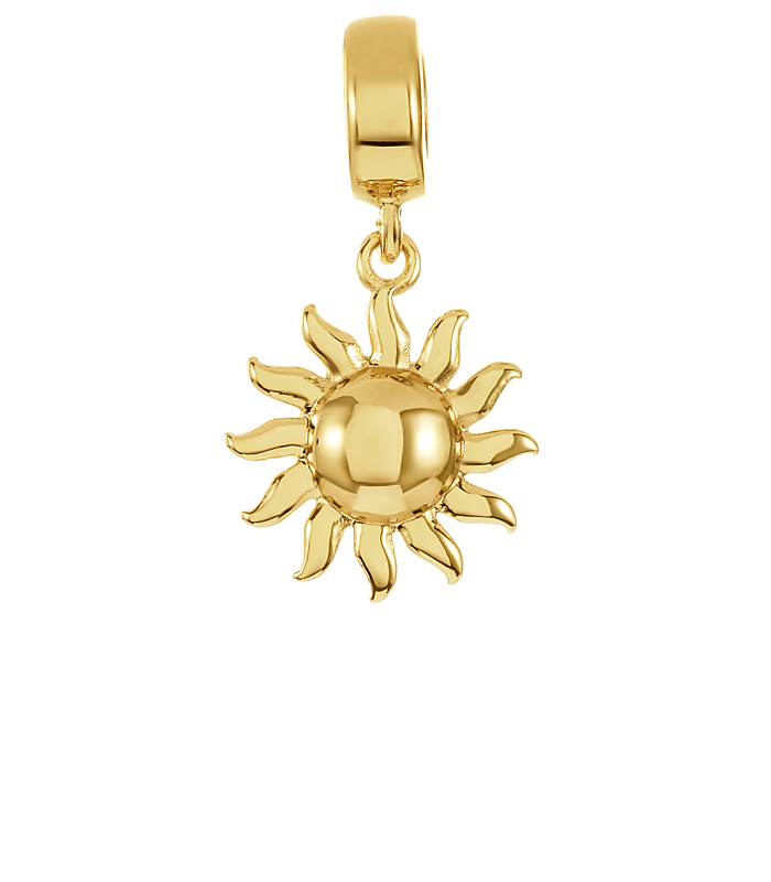 Gold sun charm for use on DBW interchangeable charm bracelets.