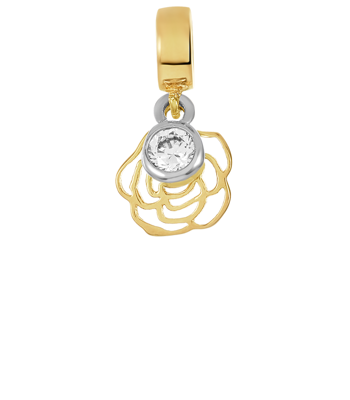Gold and silver open rose charm for use on DBW interchangeable charm bracelets.