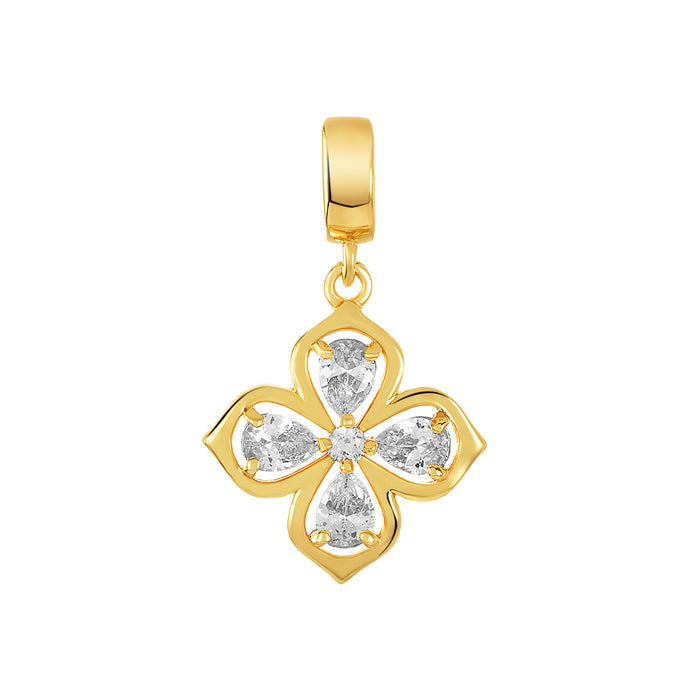 Golden Clover Cross Charm