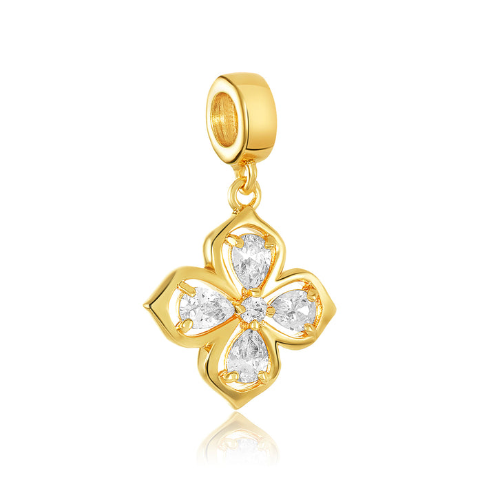 Gold clover charm with clear CZ stones for use with DBW interchangeable charm bracelets.
