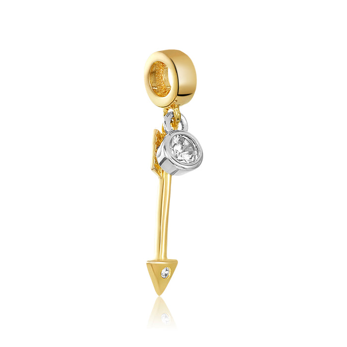 Gold arrow charm with silver CZ stone for use on DBW interchangeable charm bracelets.