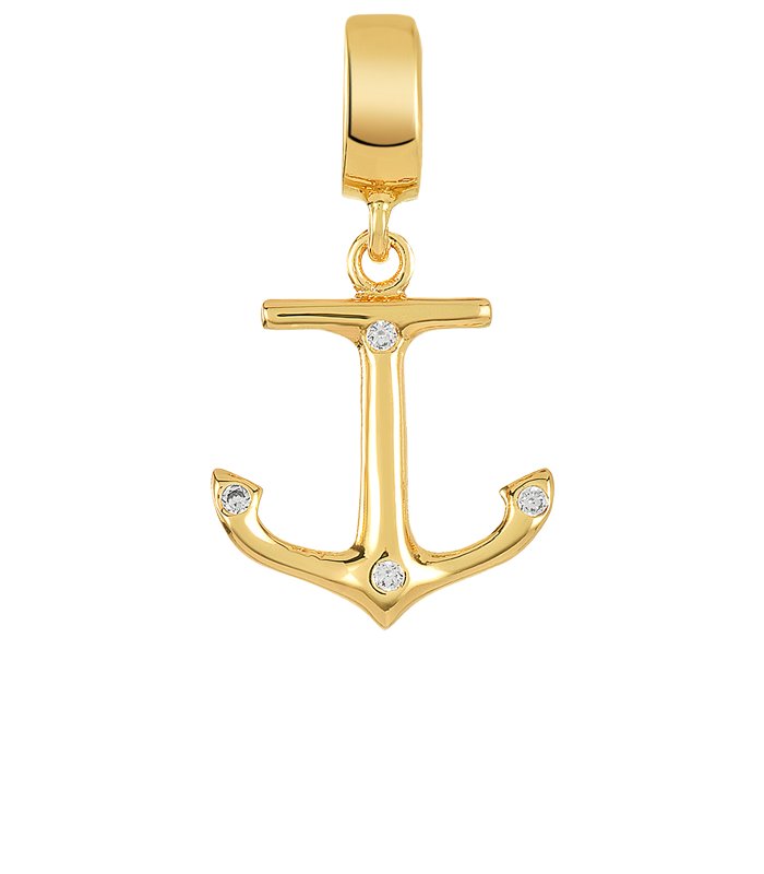 Gold anchor charm with clear CZ stones for use on DBW interchangeable charm bracelets.