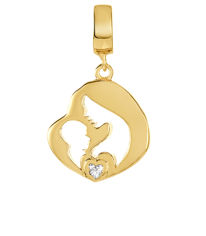 Gold mother's love charm with small clear CZ stone for use with DBW interchangeable charm bracelets.