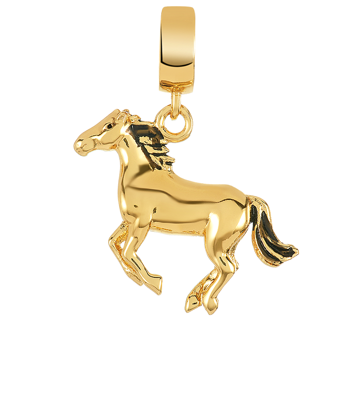 Gold horse charm for use with DBW interchangeable charm bracelets.