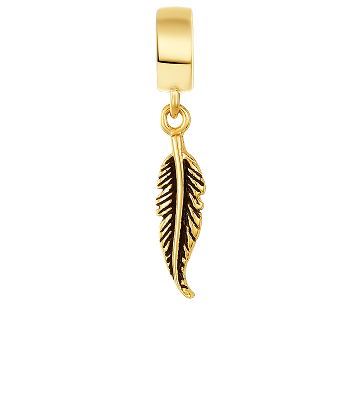 Golden Antique Feather Charm
