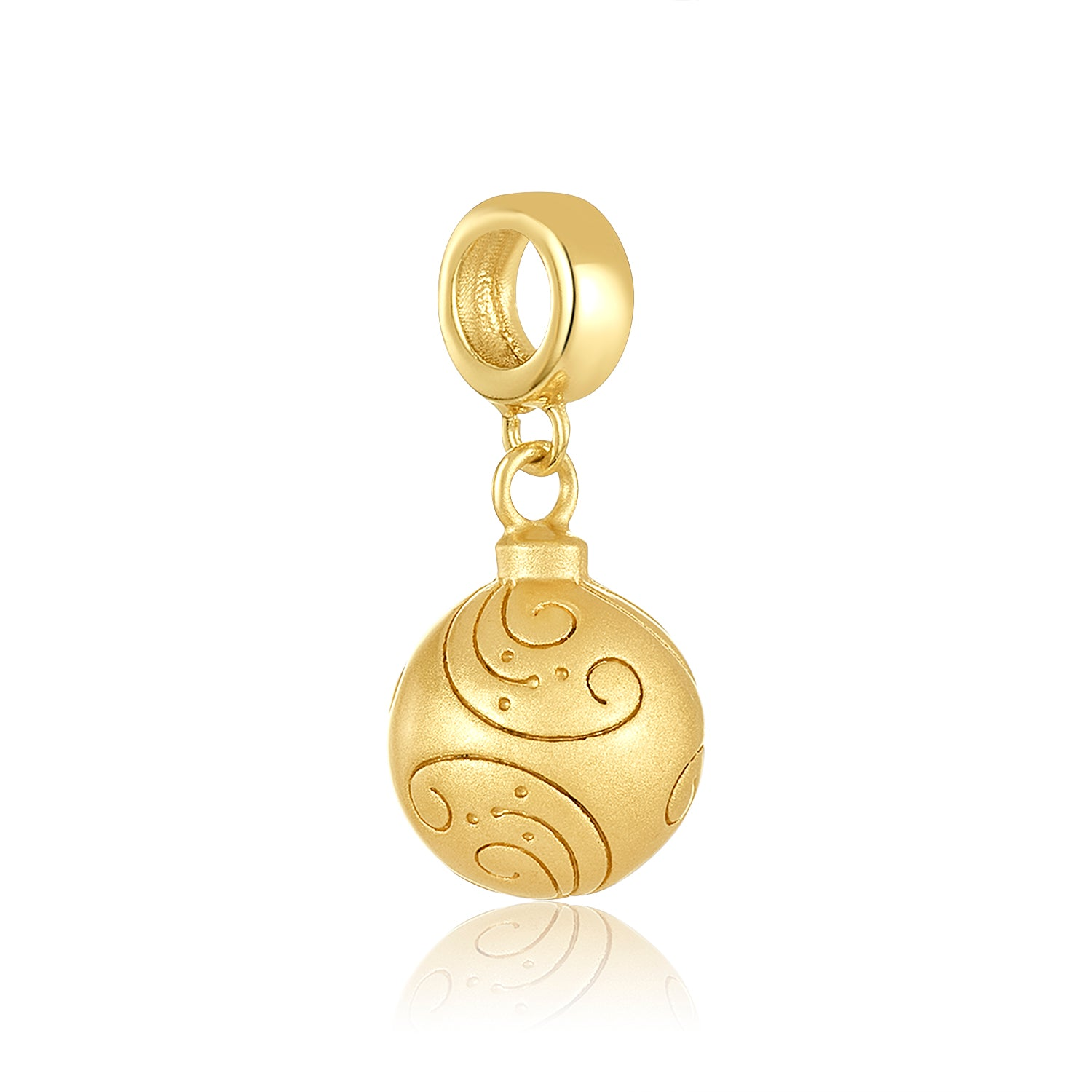 Gold Christmas ornament charm for use with DBW interchangeable charm bracelets.