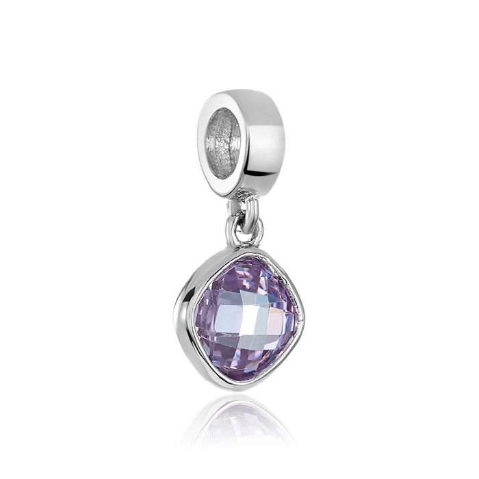 Amethyst CZ stone charm for use with DBW interchangeable bracelets.