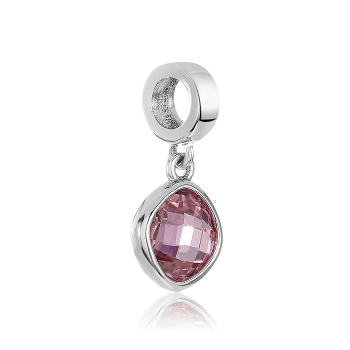 Pink CZ stone on silver charm for use with DBW interchangeable charm bracelets.
