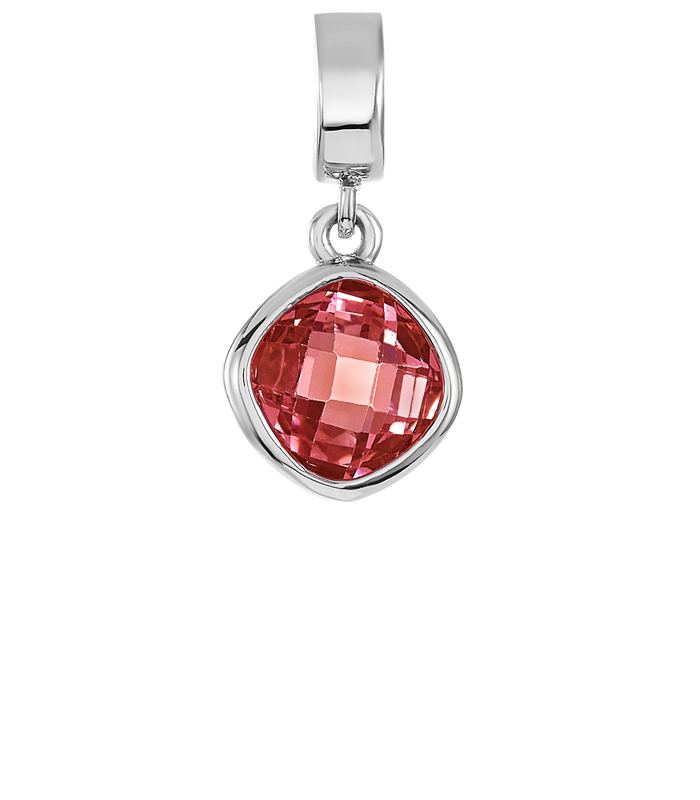 Garnet color CZ stone on silver charm.