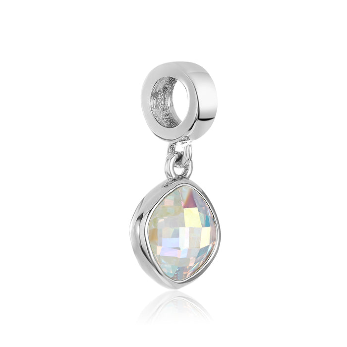 Silver sparkling clear CZ stone charm for use with DBW interchangeable charm bracelets.